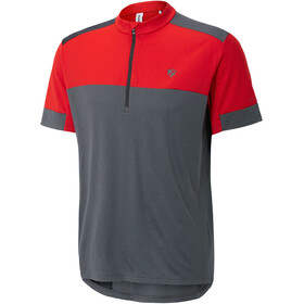 Ziener Cadeem Fietsshirt korte mouwen Heren grijs/rood